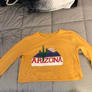 Tops - Yellow cropped long sleeve
